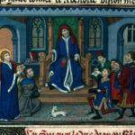 Św. Iwo przed sądem, Ilustracja w manuskrypcie Złota Legenda XVw.