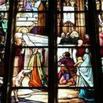 Pogrzeb św. Iwo, witraż, autor nieznany